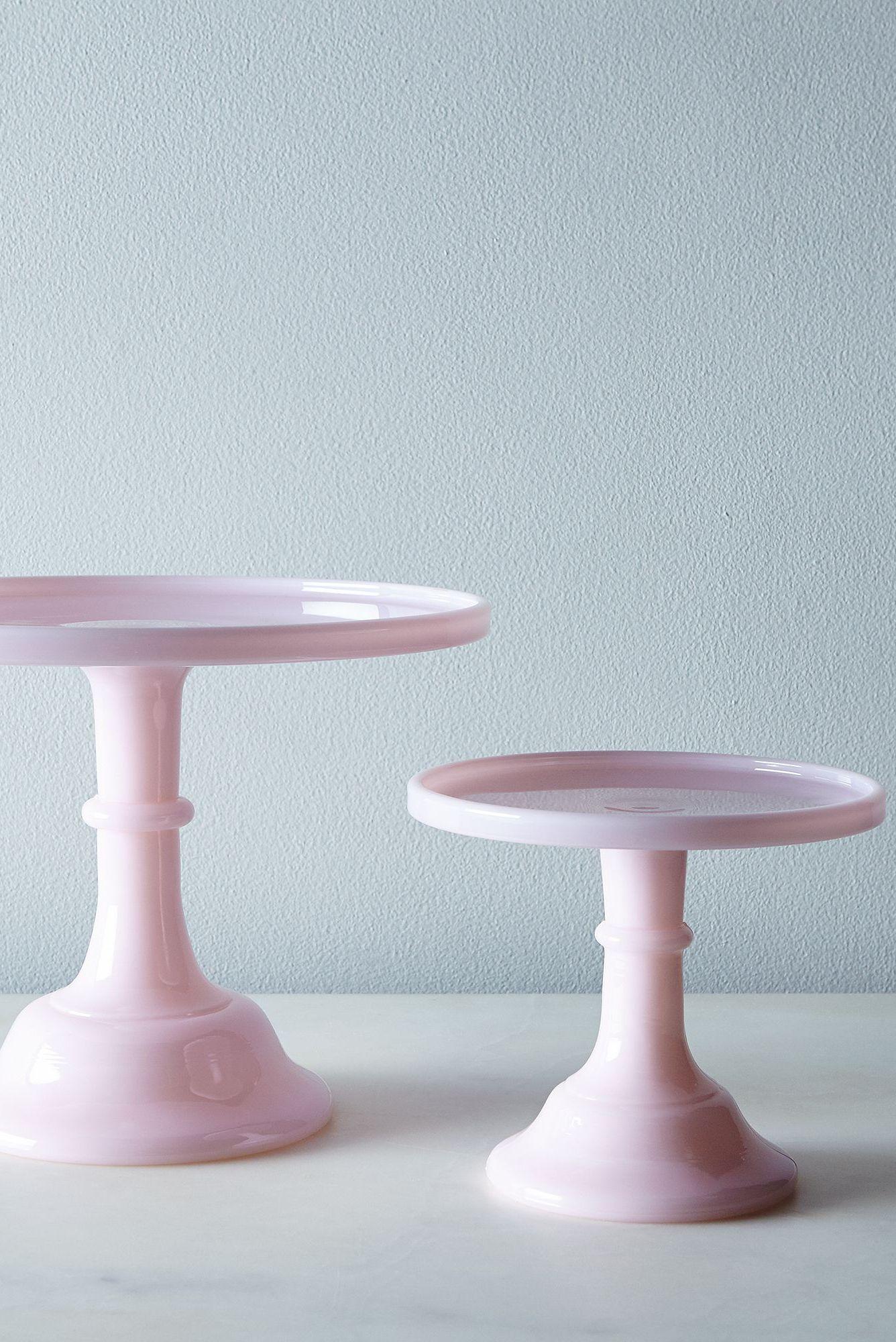 pink milk glass cake stand
