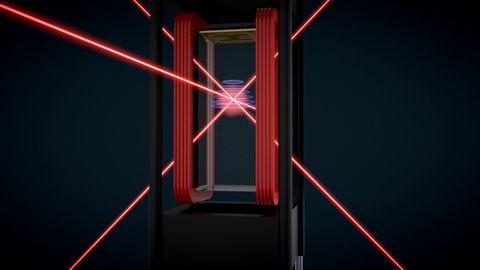 Red, Light, Neon, Line, Laser, Symmetry, Night, Technology, Neon sign, Visual effect lighting,