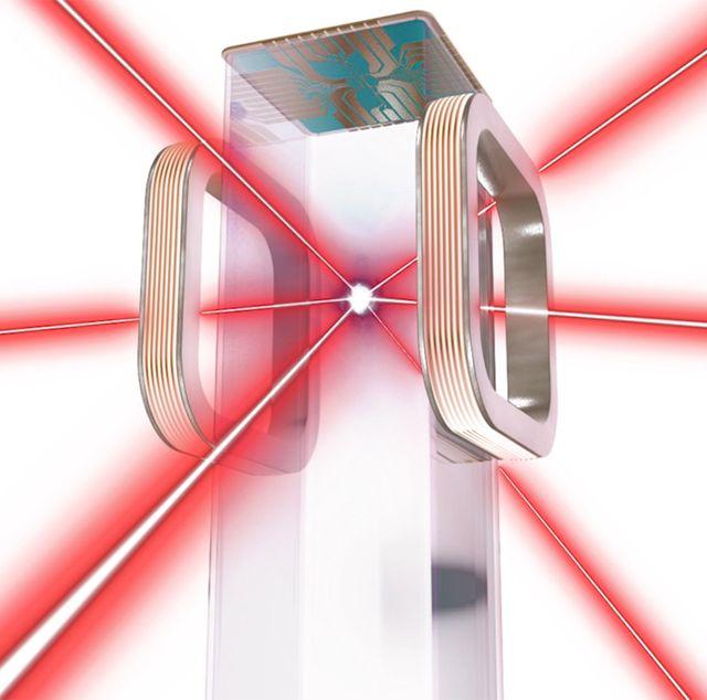 a nasa artist's rendition of the laser focused bose einstein condensate trap