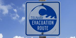 USA, California, Sonoma County, Bodega Bay, tsunami evacuation panel