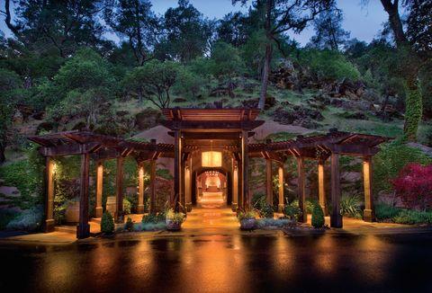 Lighting, Architecture, Tree, Building, Botany, Landscape lighting, Home, House, Estate, Landscape,