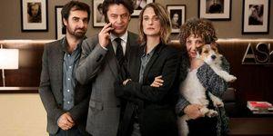 Protagonistas de la serie francesa Call my Agent, Thibault de Montalembert, Grégory Montel, Camille Cottin y Liliane Rovère