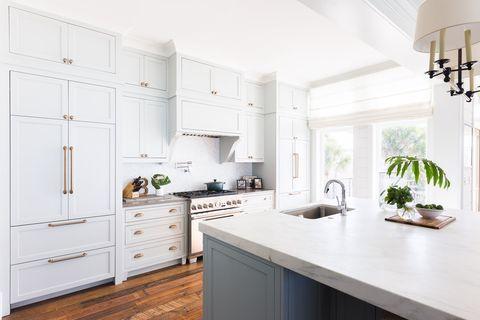 Countertop, White, Kitchen, Furniture, Room, Cabinetry, Property, Interior design, Green, Floor,