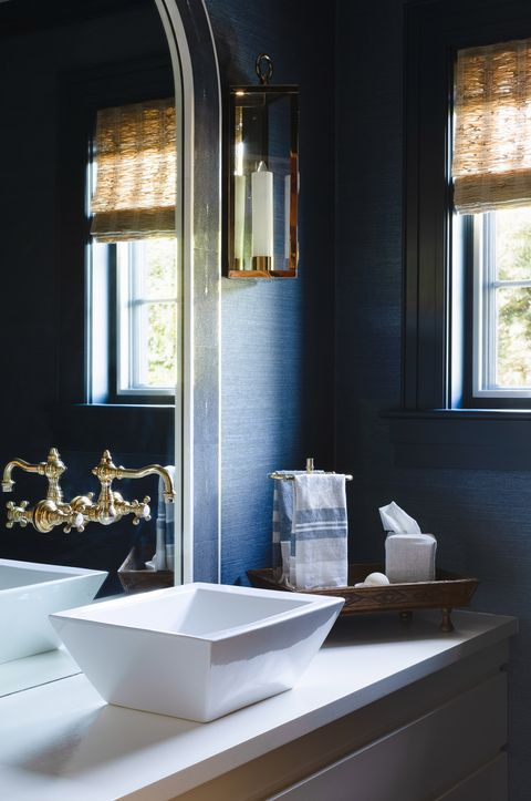 powder room, white sink, gold faucet, dark wallpaper