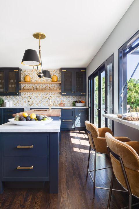 Room, Furniture, Countertop, Kitchen, Yellow, Blue, Interior design, Property, Cabinetry, Floor,
