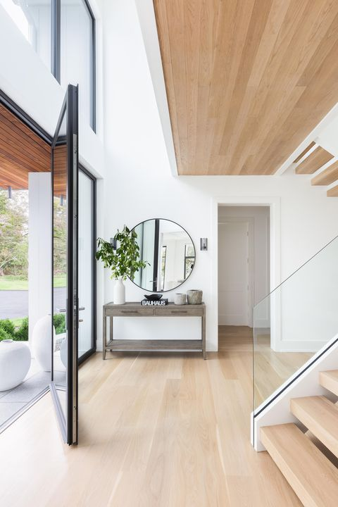 Entrance, wooden floors, stairs, glass doors