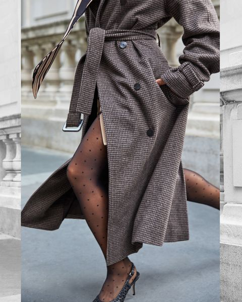Clothing, Coat, Brown, Fashion, Outerwear, Pattern, Trench coat, Leg, Waist, Design,