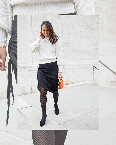 Clothing, White, Black, Shoulder, Fashion, Pencil skirt, Tights, Black-and-white, Leg, Waist,