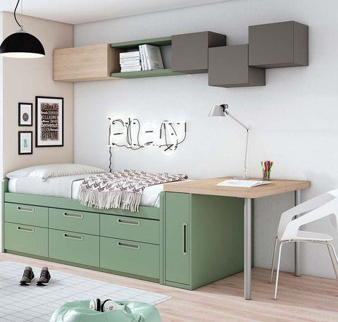 Dormitorio juvenil: cama con cajones