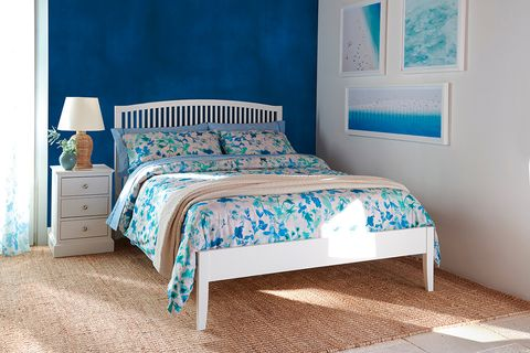 Bedroom, Furniture, Bed, Bed sheet, Room, Bed frame, Aqua, Blue, Turquoise, Bedding,