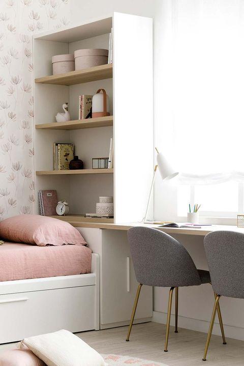 Dormitorio modular infantil en tonos blancos