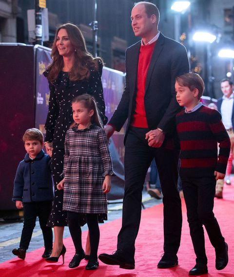 britains prince william, duke of cambridge, his wife britains catherine, duchess of cambridge, and their children britains prince george of cambridge r, britains princess charlotte of cambridge 3rd l and britains prince louis of cambridge l arrive to attend a special pantomime performance of the national lotterys pantoland  at londons palladium theatre in london on december 11, 2020, to thank key workers and their families for their efforts throughout the pandemic photo by aaron chown  pool  afp photo by aaron chownpoolafp via getty images