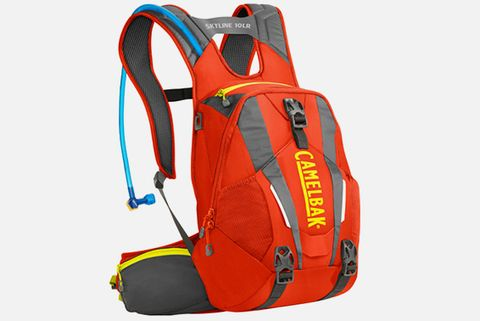 Bag, Orange, Personal protective equipment, Luggage and bags, Backpack, Strap, Baggage, Coquelicot, Plastic,