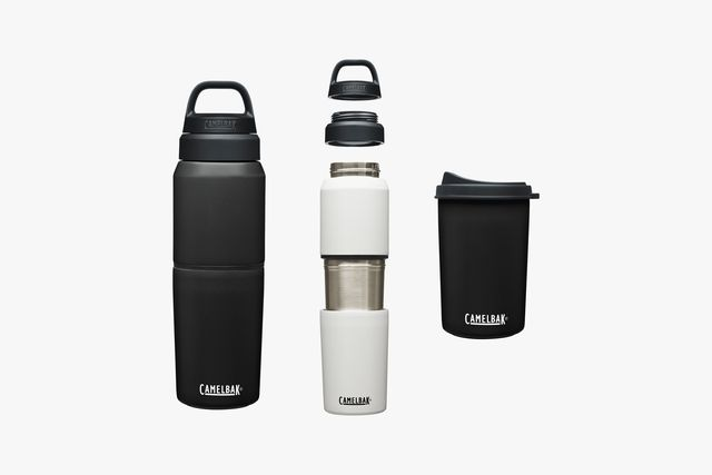 a black water bottle next to the same bottle in white separated into pieces that include a cap and separate cup
