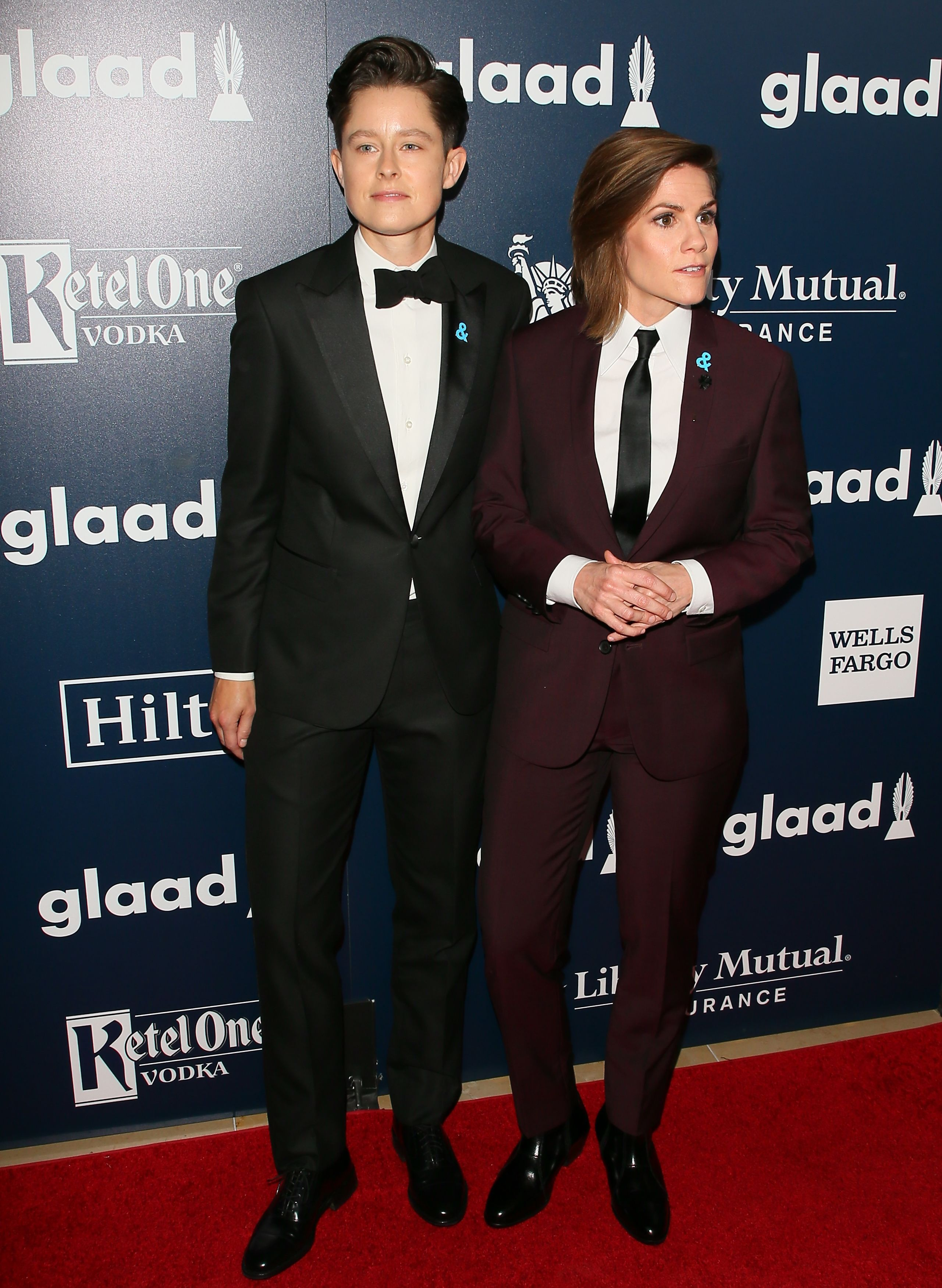 Cameron Esposito and Rhea Butcher attend the 28th Annual GLAAD Media Awards on April 01, 2017 in Beverly Hills, California.