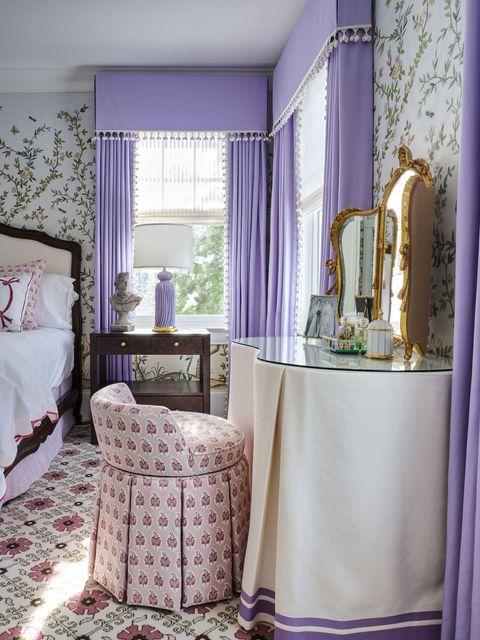 Curtain, Purple, Room, Interior design, Window treatment, Pink, Furniture, Lilac, Violet, Lavender,