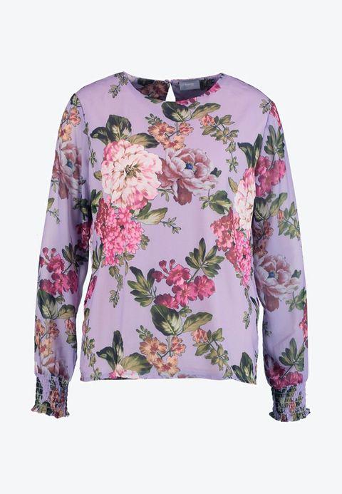 Clothing, Sleeve, Outerwear, Top, Blouse, Long-sleeved t-shirt, T-shirt, Shirt, Neck, Magenta,