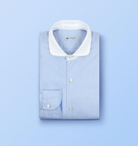 Clothing, White, Collar, Dress shirt, Blue, Shirt, Button, Outerwear, Sleeve, Top,
