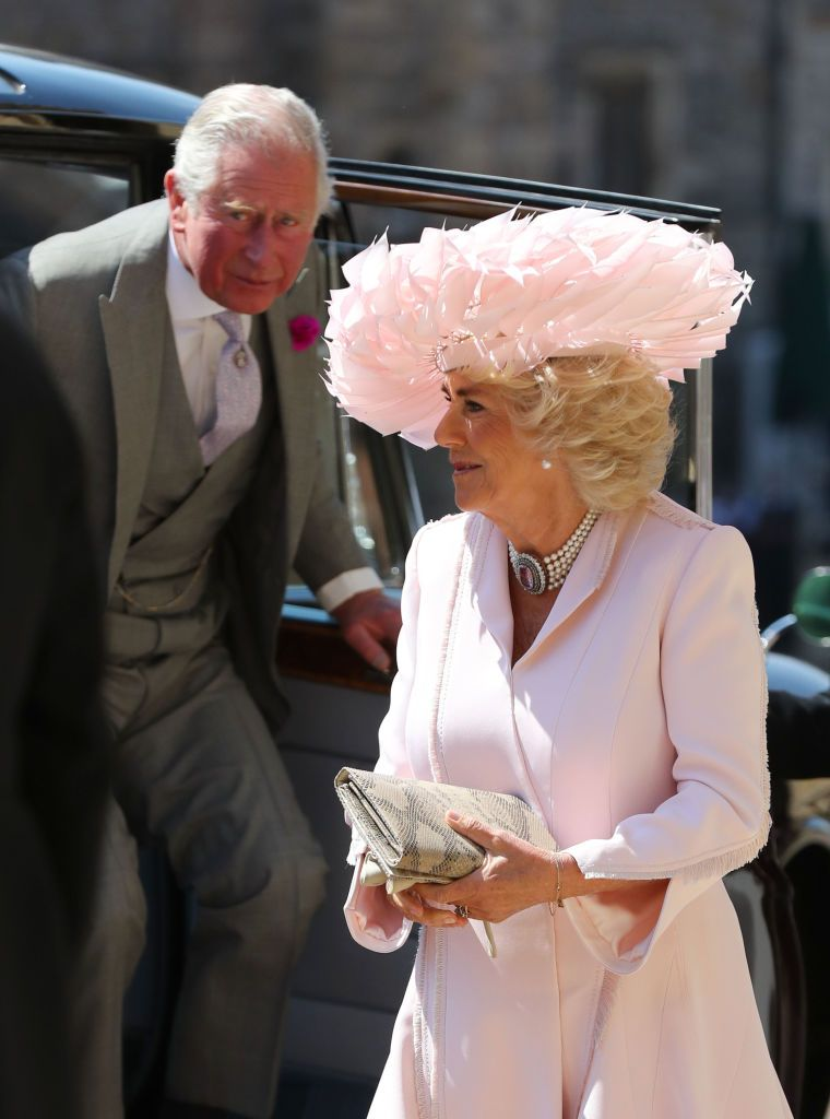 Camilla is wearing a pale pink suit dress, a five-strand pearl necklace, and a python printed clutch—but her Philip Treacy hat truly stole the show. Charles chose a light charcoal suit.