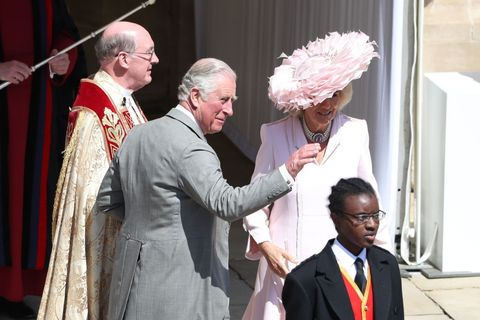 ac41c6e642596 Camilla Parker Bowles Hat and Dress at the Royal Wedding - See ...
