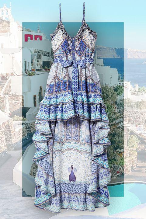 Clothing, Blue, Dress, Pattern, Day dress, Pattern, Fashion, Purple, Design, Textile,