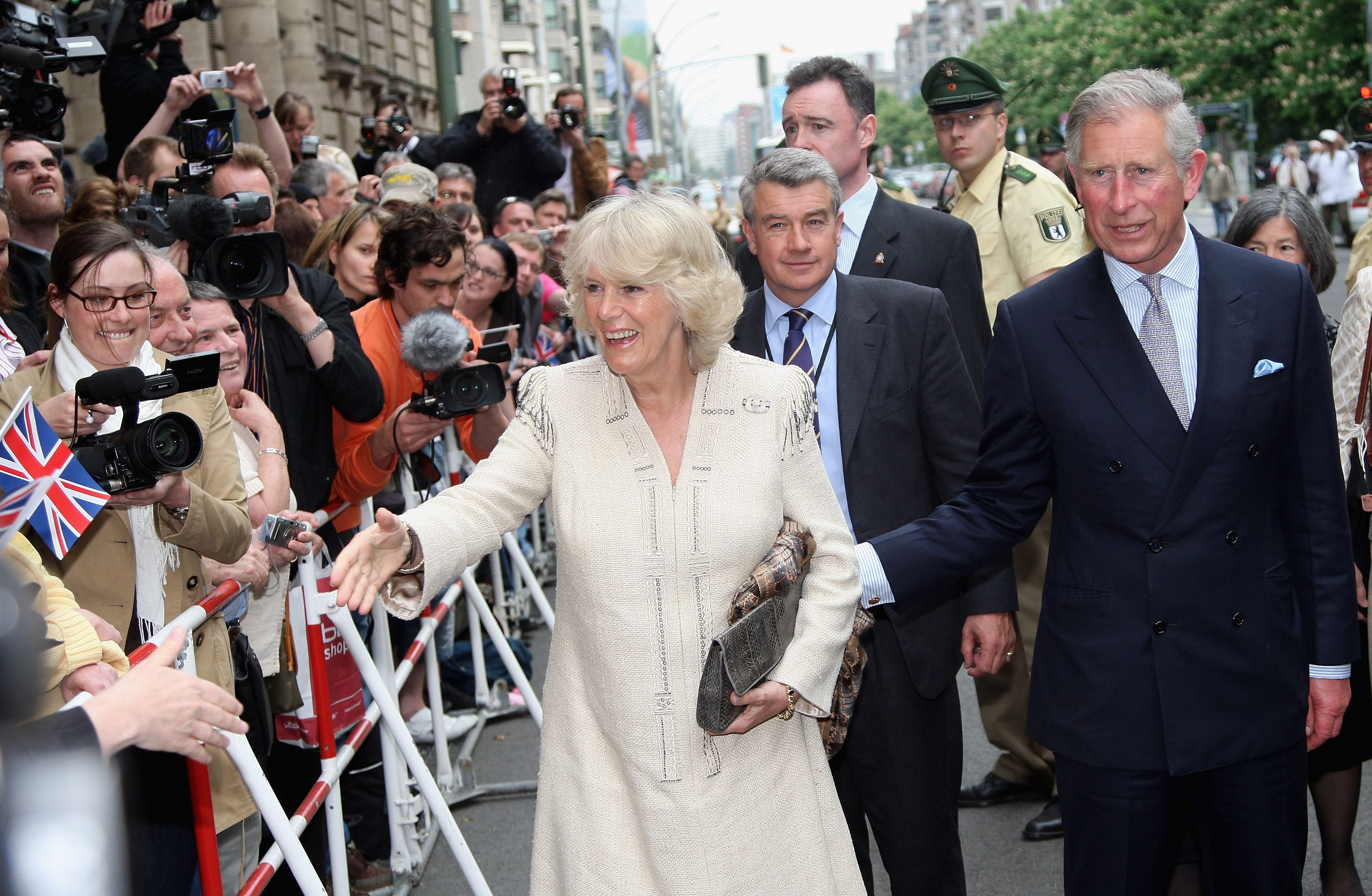 Prince Charles and Camilla greet the crowds in Berlin during their visit in 2009.