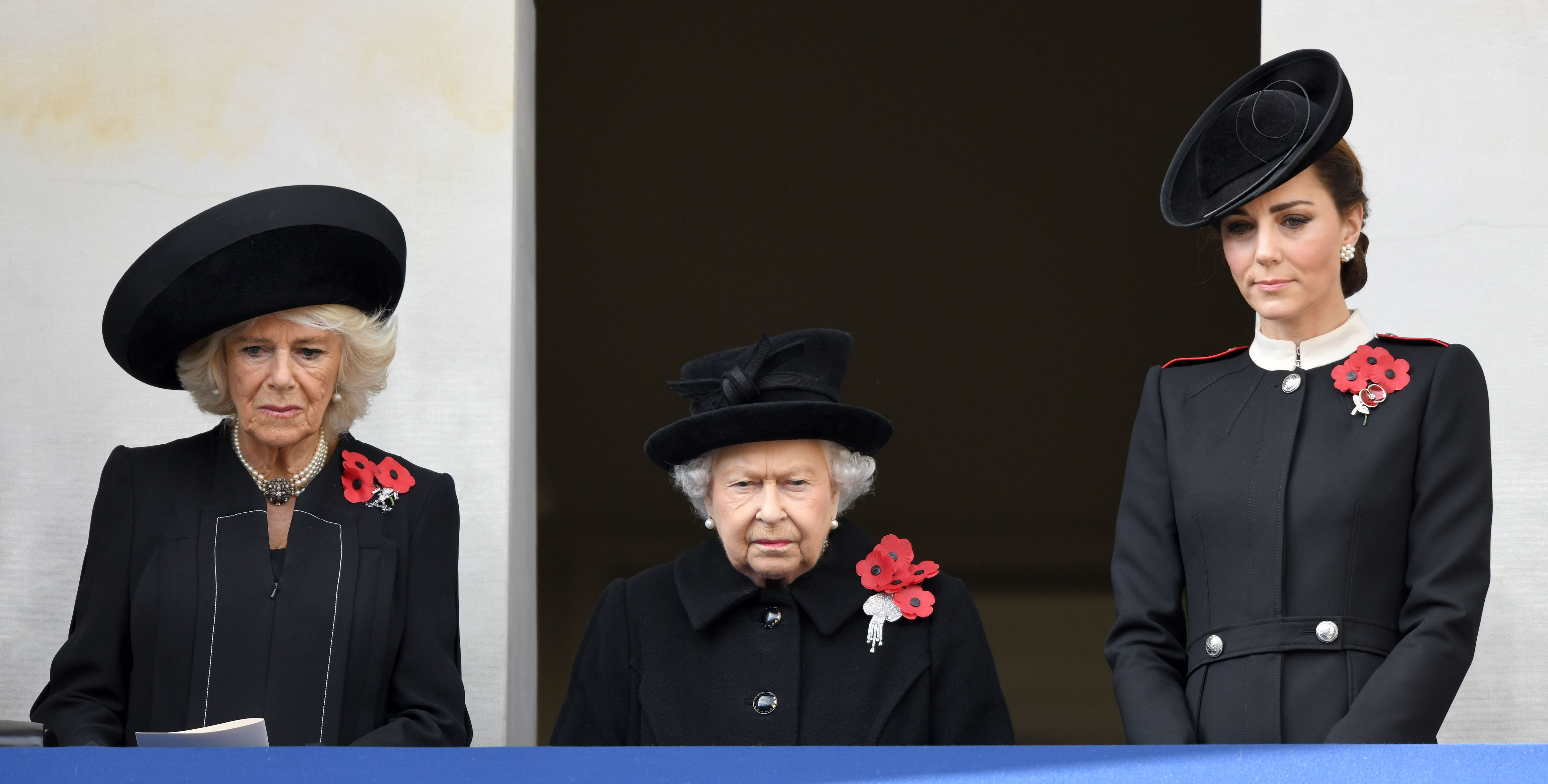 The Duchess of Cornwall, the Queen, and the Duchess of Cambridge attend the annual Remembrance Sunday memorial this year.