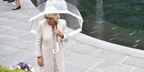 Umbrella, White, Photograph, Rain, Water, Fashion accessory, Photography, Sidewalk, Water feature, Walking,