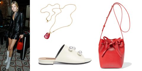 Footwear, Red, High heels, Shoe, Slingback, Carmine, Fashion accessory,