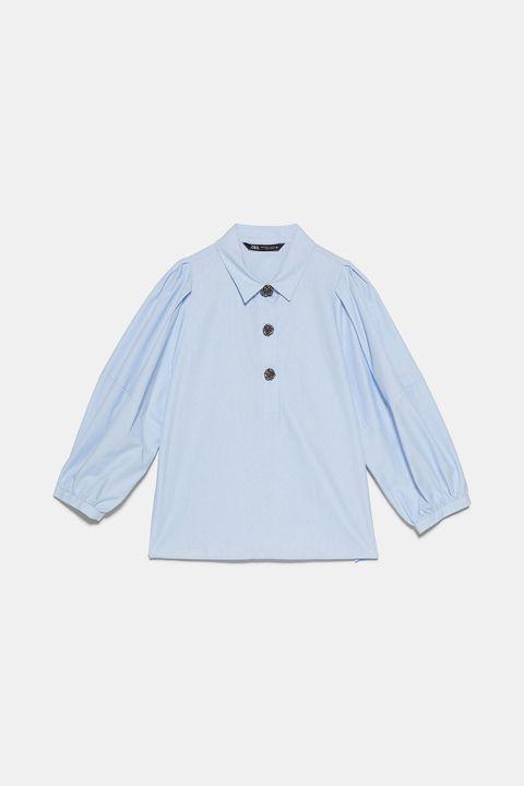 camisa abullonada de zara