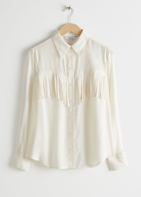 Clothing, White, Collar, Sleeve, Blouse, Shirt, Beige, Top, Neck, Button,