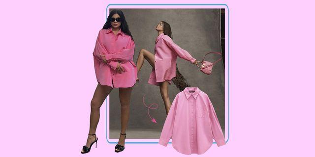 zendaya y kylie jenner con camisa rosa de zara