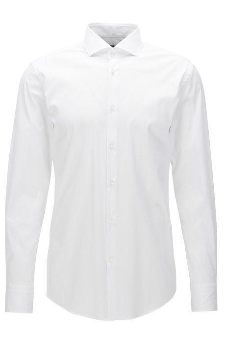 Camisa slim fit en popelín elástico de Boss (109,95 euros)