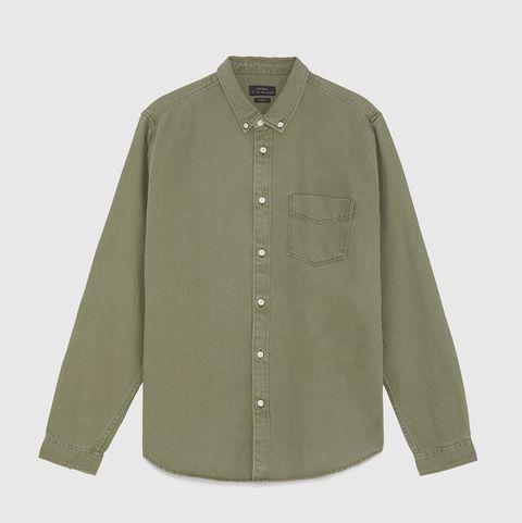 Zara camisa vaquera, camisa vaquera hombre, camisa vaquera verde