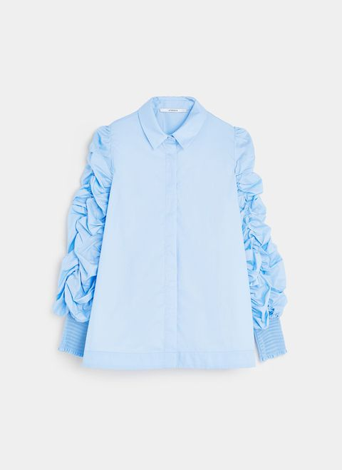 Clothing, Blue, White, Aqua, Sleeve, Turquoise, Outerwear, Collar, Azure, Shirt,
