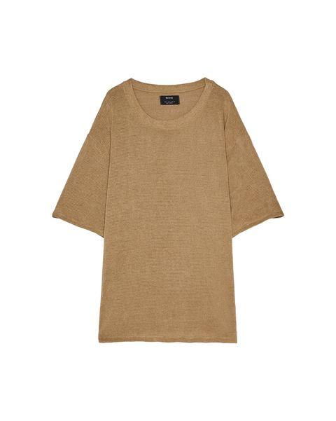 Clothing, Sleeve, T-shirt, Brown, Tan, Beige, Khaki, Outerwear, Top, Blouse,
