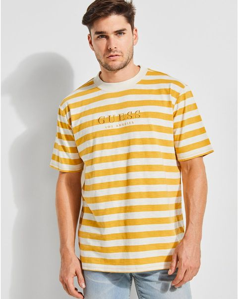 T-shirt, Clothing, White, Yellow, Sleeve, Neck, Cool, Top, Shoulder, Muscle,