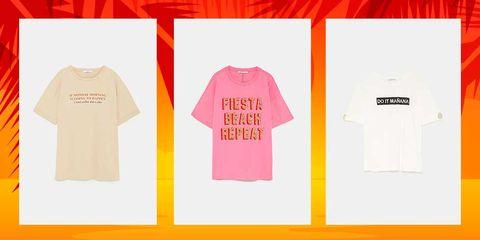 T-shirt, Clothing, Product, White, Text, Pink, Orange, Sleeve, Yellow, Font,
