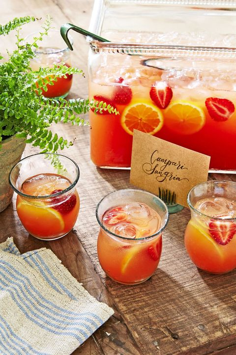 campari sangria with strawberries and orange