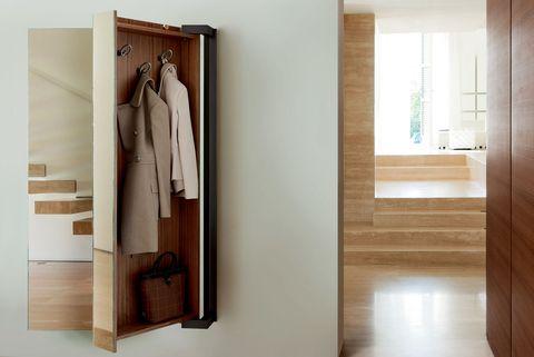 Room, Clothes hanger, Furniture, Door, Cupboard, Wall, Wardrobe, Wood, Hardwood, Vehicle door,