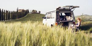 Camper outside van