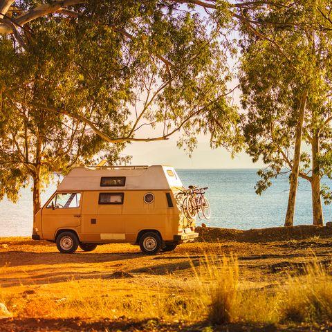 Camper car on beach seashore