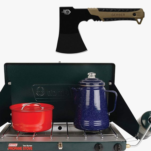 a camping stove and an ax