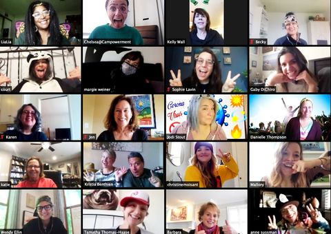 screen showing 20 people on zoom video call