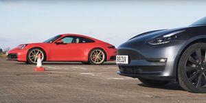 Tesla Porsche drag race