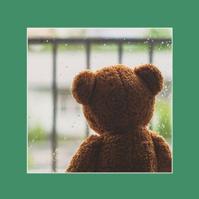 teddy bear sitting next to a rainy window