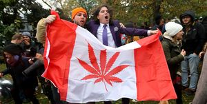 People gathered a 4:20 for a 420 celebration of legalization day of marijuana at Trinity Bellwoods