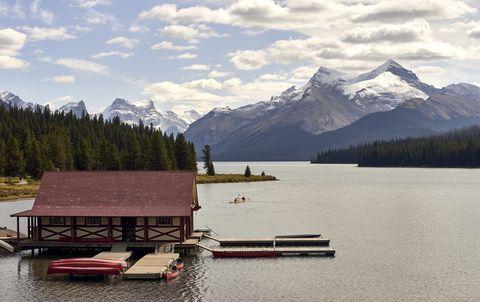 canada, alberta, jasper national park, maligne mountain, canoe on mali