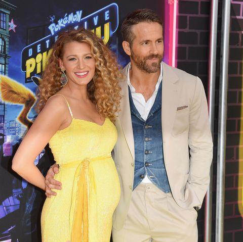 Pregnant Blake Lively with husband Ryan Reynolds at Pokemon premiere