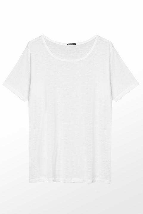 Clothing, White, T-shirt, Sleeve, Top, Blouse, Outerwear, Neck, Crop top, Shirt,